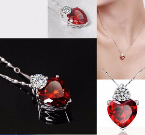 Heart Crystal Jewelry Set Pendant Necklace Earrings Sets for Girl Women Designs Cubic Zirconia Purple White Silver Chain Wedding Jewelry