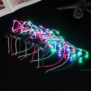 Cat Ear Led Headband Hair Hoop Band Light Birthday Wedding Party Accessories Headwear Masquerade Decorations Cute FWC6300