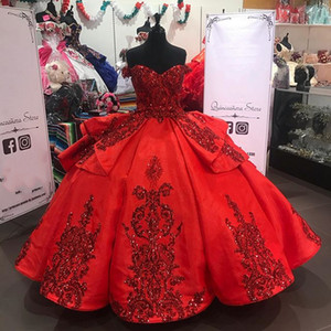 Red Sparkly Quinceanera Prom Dresses 2021 Off Shoulder Lace Applique Sequins Ball Gown Tulle Party Sweet 16 Dress Quinceañera