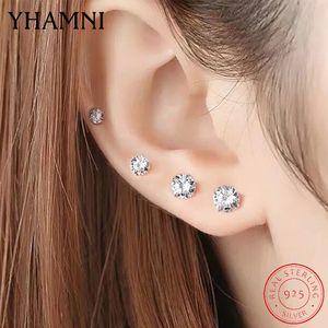 Yhameni original 925 boucles d'oreilles en argent sterling pour femmes / hommes Petit 3mm / 4mm / 5mm / 6mm / 7mm / 8mm zircon boucles d'oreilles fille enfant arètes e309