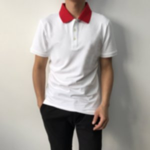 2021 European spring and summer latest fashion super large patch letter printing mixed cotton Italian men's T-shirt men's white POLO shirt
