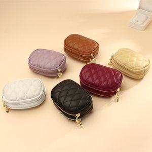 Coin Purse Genuine Leather Women Double Zippers Cowhide Wallet Female Card Holder Clutch Money Bag with Key Chain