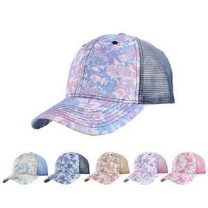 Tie-Dye Graffiti Ponytail Hat Cavet Hat 6 Новые Стили Пары Понит Бейсбол Чистая Шапка Новейшая улица Открытый Спортивный Прилив Sun Hat