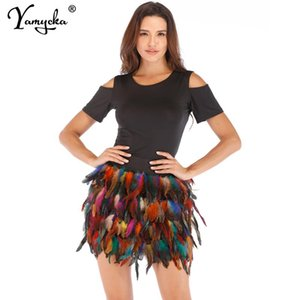 Skirts Sexy High Waist Woman Womens Feathers Decoration Mini Y2k Harajuku Goth Skirt Vintage Club Prom Party Wrap Pleated