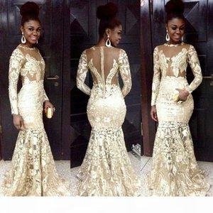 2021 Estilo sudafricano Vestidos de noche Lace Sheer Cuello de manga larga Mermaid Vestidos de fiesta para mujer Tallas grandes Vestidos formales de fiesta