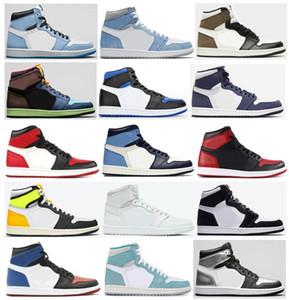 Melhor Qualidade 1 Universidade Blue Dark Mocha Hyper Royal Bred Toe Banned Neutro Cinzento Cinzento Homens Basquetebol Sapatos 1S Obsidian Turbo Green Sneakers