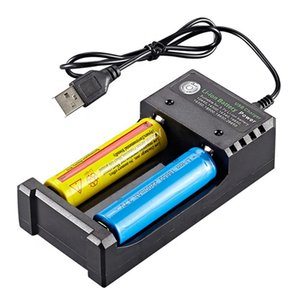 Ampere Power M02U USB 18650 Battery Charger Black 2 Slots AC 110V 220V Dual For 18650 Charging 3.7V Rechargeable Lithium Battery