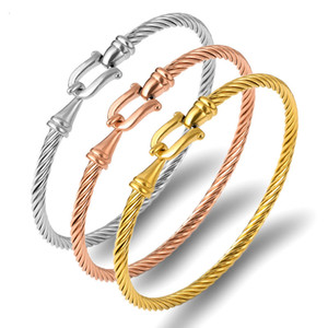 Bracelets Cuff Fashion for Charm Women Gold Color Stainless Steel Wire Thin Bangles Twisting Rope Bracelet Statement Jewelry