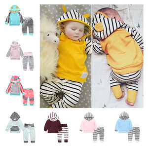 Kids Baby Suit Yellow Long-sleeved Hooded Sweatshirt Hoodie Top And Striped Pants Set Children Clothing Baby Pajamas