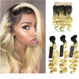 Dark Roots Blonde 360 Lace Frontal With Bundles Two Tone #1b 613 360 Lace Frontal With Body Wave Human Hair Weave 22.5*4*2