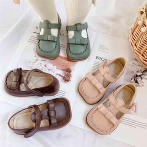 children's shoes bow solid color princess girls baby kids for 210701