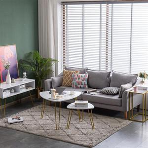 Living Room Furniture Marble Iron Feet Coffee T Side 2 Sets [84 x83 x46cm] White tea table