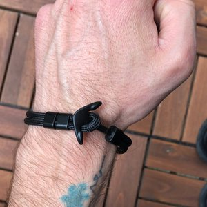 Âncora pulseira homens charme sobrevivência corda corrente calha pulseiras paracord moda cor preta âncora pulseira macho envoltório metal esporte ganchos