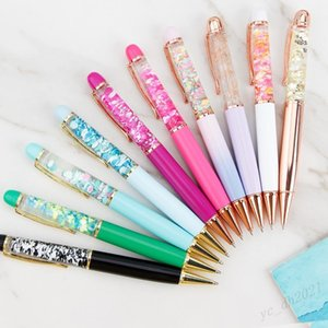 Creative Design Oil Flow Dry Flower Sequin Metal Ballpoint Pen Liquid Floating Pen Writing Supplies Advertising Signature Pen Student Gift
