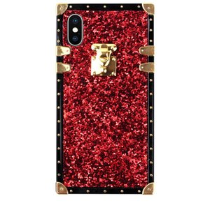 2021 New Four Corners Anti-drop Mmobile phone Case Bling Glitter Luxury Metal Square Case Cover For iPhone 12 11 Pro XS Max XR 7 8