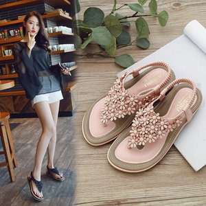 2021 Sandals Flat Summer Shoes Woman Strappy Heels Large Size Suit Female Beige New Without Elastic Band Big Bohemian Comfort G