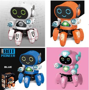 new Dancing electric toy hexapod steel robot with color box light and music toys for children boys EWF7950