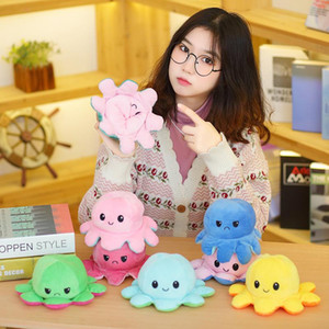 24 Hours Ship!Reversible Flip Octopus Stuffed Plush Doll Soft Simulation Reversible Plush Toys Color Chapter Plush Doll Child Toys
