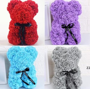 Rose Teddy Bear Valentines Day Gift 25cm Flower Bear-Artificial Christmas Gifts for Women Valentines-Gift HWF10187