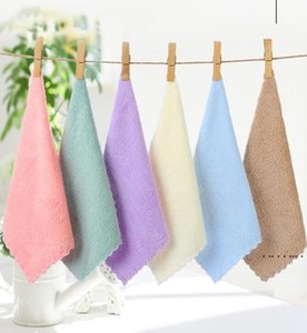 Washcloth Soft Towels Pure Colour Face Towel Coral Fleece Children Water Uptake Towels Outdoor Travel Portable Hand Towel EWD5186