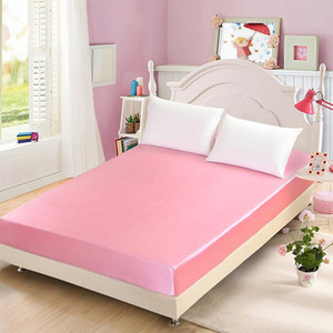 1pc 100%polyester imitated silk fabric Bed Sheet Fitted sheet With Elastic Band Bed set Twin Queen King size