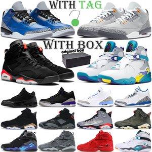 air jordan retro 3 6 8 Basketbol Ayakkabıları erkekler 3s 6s 8s jumpman 3 Soğuk Gri 6 8 açık atletik eğitmenler erkek spor ayakkabı
