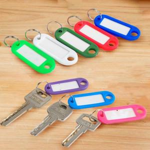 Porte-clés en plastique Blank Key Key Ring DIY Nom Tags pour le papier à bagages Insérer des tags à bagages Mélanger la couleur Couleur Chaîne Accessoires Chaînes YHM838