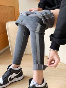 velvet women's autumn and winter new side stripe fashion versatile Leggings wear elastic Thin warm pants