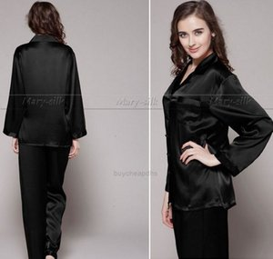 Pyjamas Wholesale- Womens Silk Satin Pajamas Set Pajama Set PJS Sleepwear Loungewear S,M,L,XL,2XL,3XL Plus Size XH25TO