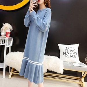 Women Sweater Maxi Dress utumn Winter Loose Knit Long Dresses Plus Size Women Dress