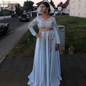 light Blue Moroccan caftan Evening Dresses V Neck long sleeves Crystal Algeria Arabic Muslim Special Occasion Dresses Party Gowns
