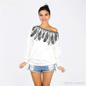 Wholesale free shipping Hot Women Stretch Black Rose 3D Digital Print Cotton Hoodies Off Shoulder Long Sleeve Loose Tops White Sweatshirts