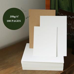 2021 New 100 p 350g Blank Card Albums Scarpbook Kraft hand Painted White Paper Diy Graffiti Album Message Cards 4p4p