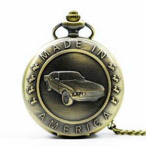 برونزي موستانج نمط سيارة كوارتز الجيب ووتش مع سلسلة مفتاح الذكور الإناث هدايا على مدار الساعة للإنسان