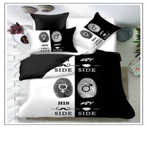 Blackwhite 그녀의 측면 사이드 침구 세트 퀸 사이즈 더블 침대 3pcs 침대 린넨 커플 이불 커버 세트 44 v2