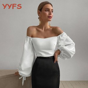 Women's Blouses & Shirts Elegant Off The Shoulder Blouse Women Slim Puff Sleeve Solid Vintage Crop Tops Spring 2021 Fashion Casual Chic Clot