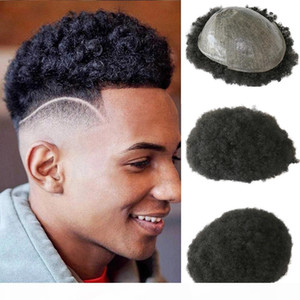 6mm Afro Toupee for Black Men Human Hair African American Wigs Full Skin 8x10inch Mens Curly Wig