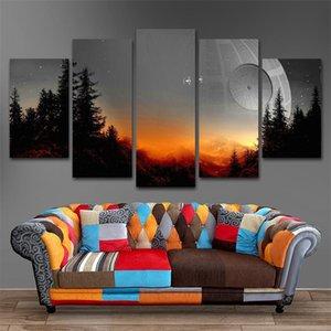 5 штук дерева смерть звезды роспись гостиной принты кино плакат дома современный декор модульные холст картинки картины стены искусства 210310