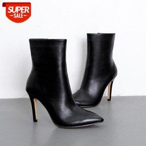 boots winter new black slim high-heeled fashion short side zipper pointed toe stiletto single