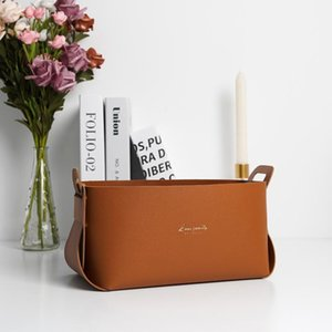 Tissue Boxes & Napkins Nordic Ins Leather Desktop Large Storage Box Living Room Bedroom Sundries Basket Capacity