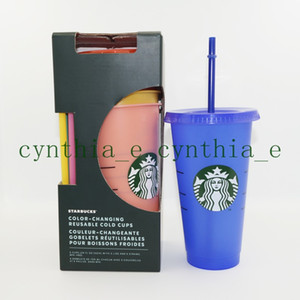 24OZ 710ml Starbucks Color Change Plastic Tumbler Reusable Clear Drinking Flat Bottom Cup Pillar Shape Lid Straw Mug Bardian
