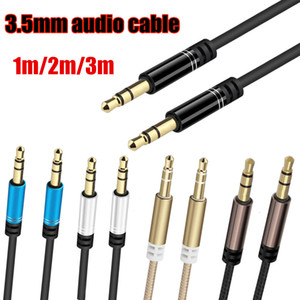 Aux Digital Audio Cable 3.5mm 1m 2m 3m Nylon Braided Cable For Computer Speaker Headset Car Audio