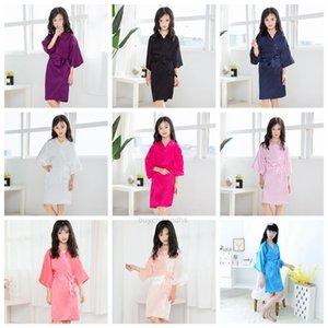 Girls Children Girls Solid Summer Robes Silk Kids satin kimono robe girls Bathrobe Sleepwear Pajamas night-robe LJJA3828XHRSTL