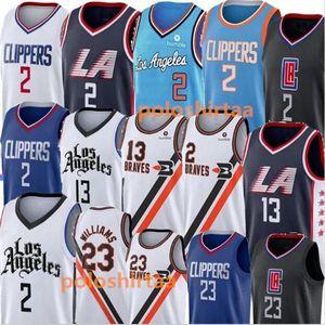NCAA 2 Leonard Basketball Jerseys Paul 13 George Lou 23 Williams Mens University Shirt Costurada Faculdade Jerseys azul preto branco