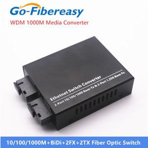 Conversor de mídia de fibra óptica Gigabit 1000Mbps Único-modo BIDI 2FX + 2TX 20km Fibre Fibre Fibra Conversor Fibra Equipamentos