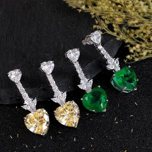 100% 925 Стерлингового серебра Классический ретро в форме сердца изумрудные желтые бриллиантные серьги женское участие