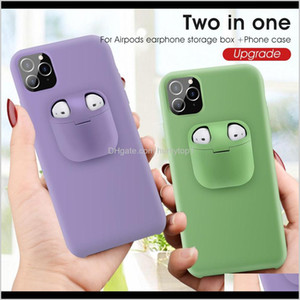 2In1 Airpods Earphone Case And Liquid Silicone+Plastic Back Cover For Iphone 12 11 Pro Xr Xs Max 7 8 Plus Ektah Kjmxw