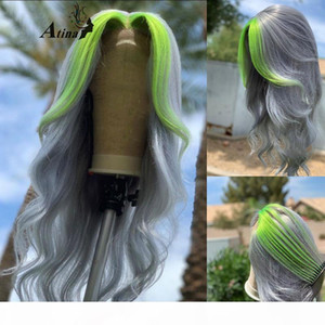 Ombre 613 Gary Green Colored Body Wave Human Hair Wig PrePlucked HD Transparent Remy Glueless Lace Front Wigs Front Full Closure