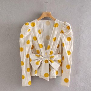 2021 Spring Summer Casual Blouse Women Bow Yellow Polka Dot Printed Pullover V Neck Chic Beach Wear Female Shirt Tops