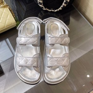luxury designer casual womens sandals high end platform beach slippers sandal fashion classic Plaid Flat bottom women shoelace free delivery Silver Big size US10